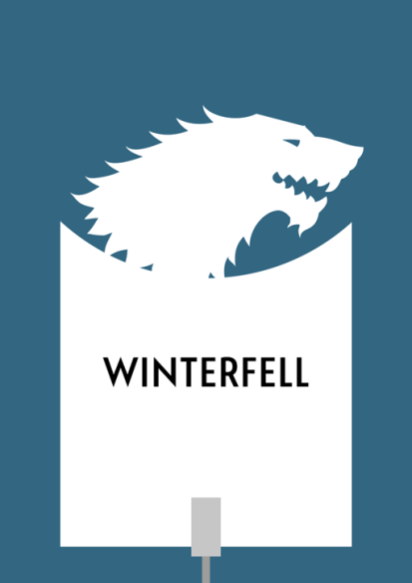 Design for a papercut wedding table name sign with the silhouette of the wolf sigil of House Stark from Game of Thrones