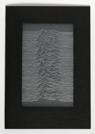 Joy Division Unknown Pleasures inspired card, engraved with a stacked visualisation of 80 consecutive radio signals from pulsar CP1919