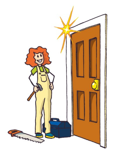 Colourful illustration of a person looking pleased about finishing construction of a door