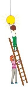 Colourful illustration of a person on a ladder, hanging a light, whilst another person steadies the ladder