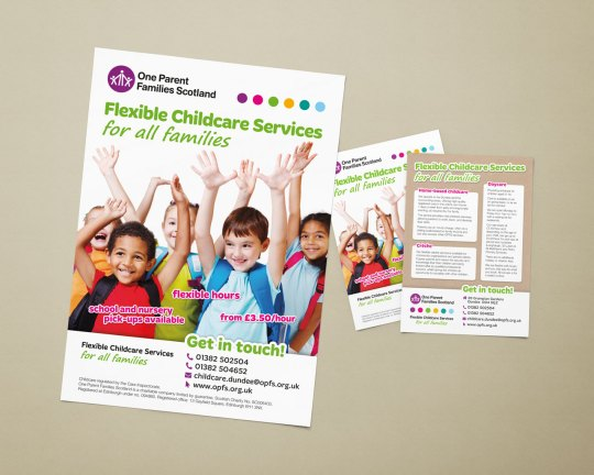 OPFS Flexible Childcare Services service promotional poster (A3) and flyer (A5)