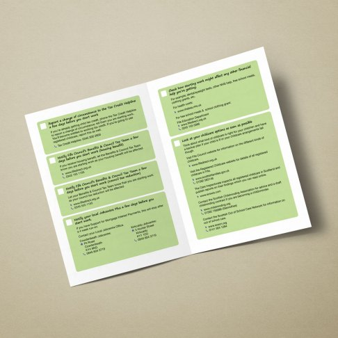 Internal pages of a publication with a checklist
