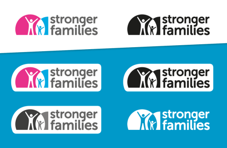 The Stronger Families logo in it's variations for differing background colours and black-and-white printing