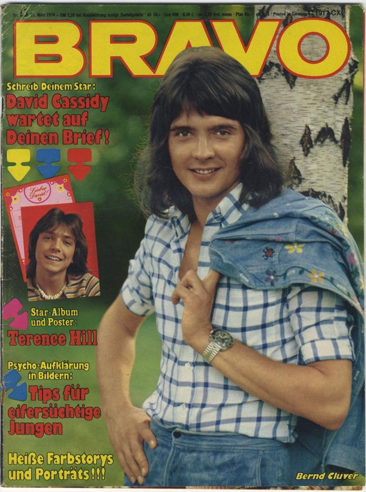 bravo 1974 nr 13 david cassidy terence hill bernd cluver ohne poster jugendzeitschrift