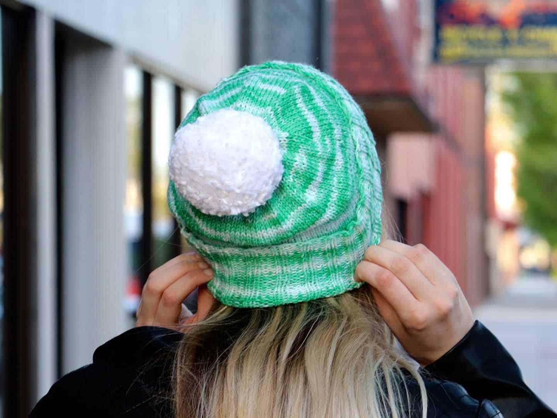 Perfectly Simple Cuffed Hat Knitting Pattern back view 8171f37e096