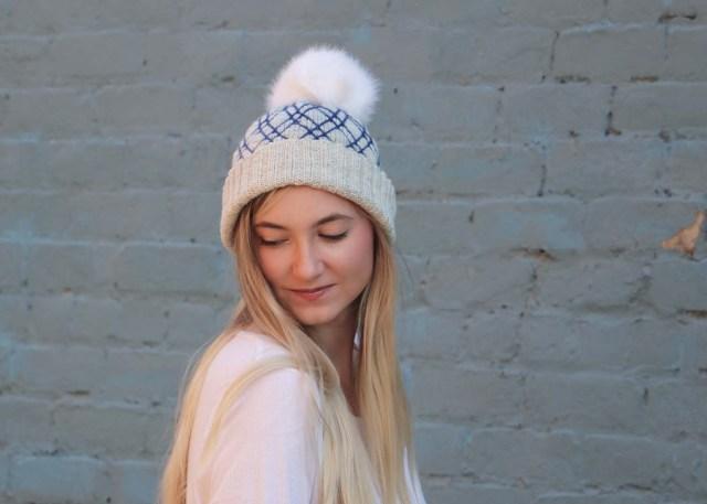 Diamond Lattice Hat knitting pattern front view looking up