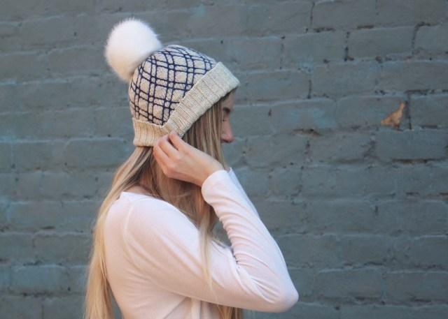 Diamond Lattice Hat knitting pattern side view 2