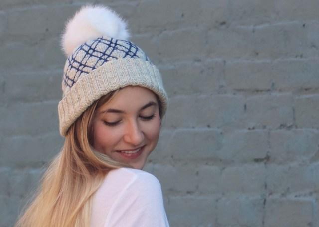 Diamond Lattice Hat knitting pattern ¾ side view
