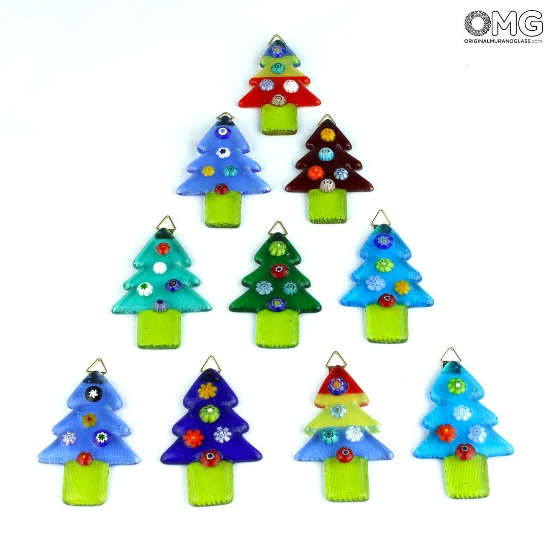 Christmas Trees Color Mix Murano Glass Xmas