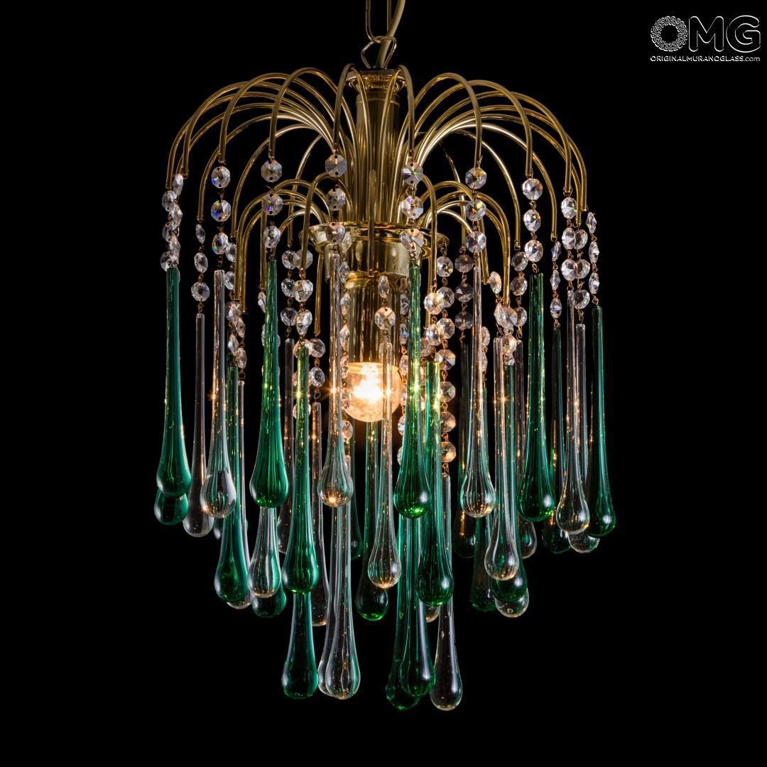Smontaggio e trasporto a carico del compratore. Goccia Lampadario Verde Cristallo Original Murano Glass Omg