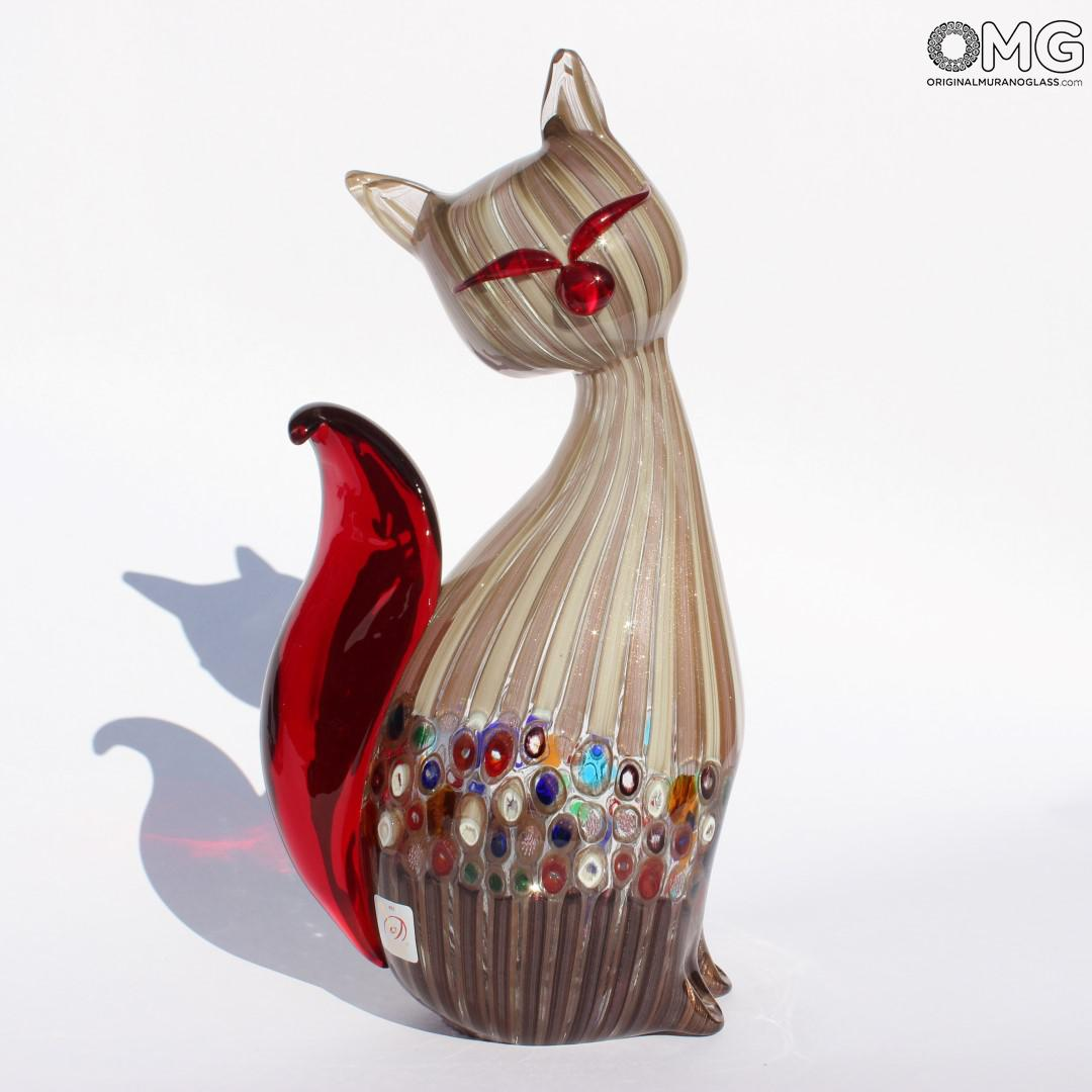 Cat Millefiori Red Original Murano Glass OMG