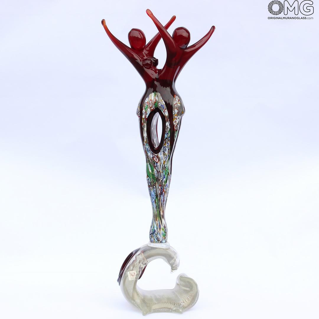 Lovers Sculpture Dancers Millefiori Red Murano Glass