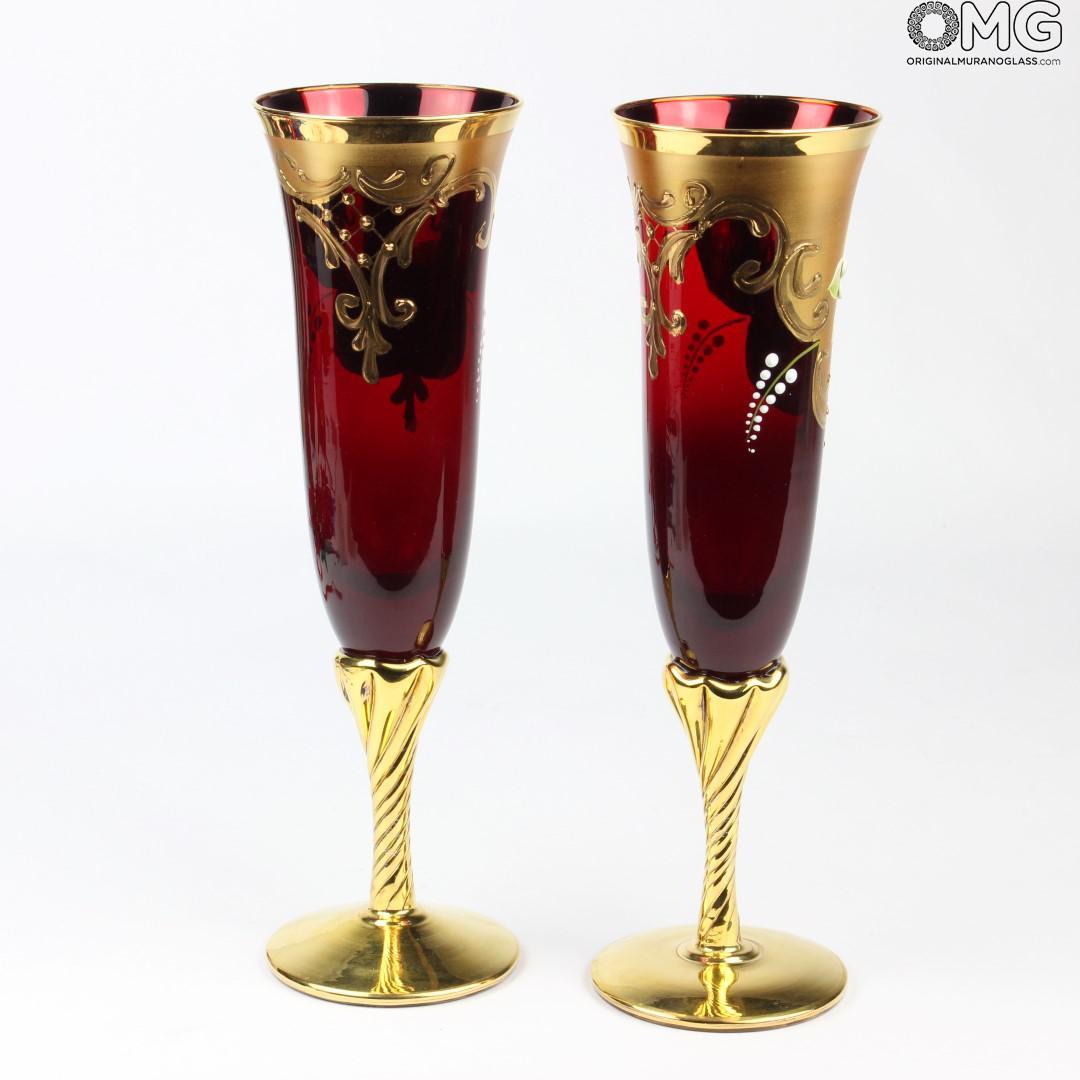 Set Of 2 Trefuochi Glasses Flute Red YouampMe Original