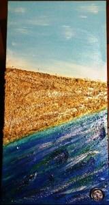 Terra mare - Quadro acrilico con paste strutturali glitter e swaroski - 30x90x2 cm