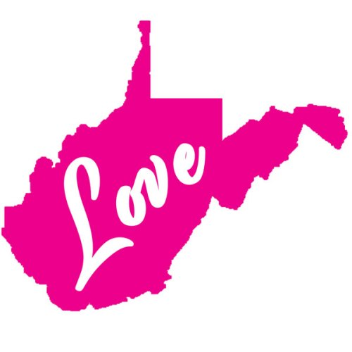 West Virginia Love Decal Pink 600