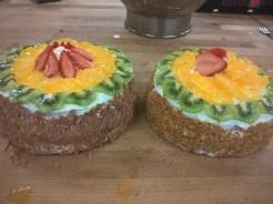 Jolly finish of fresh fruit on a light cake