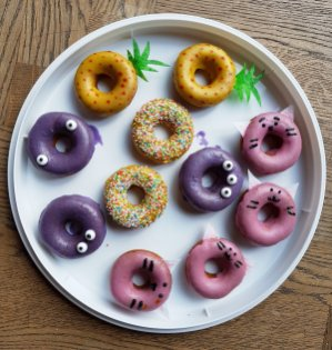 Oven baked doughnut selection with custom decoration