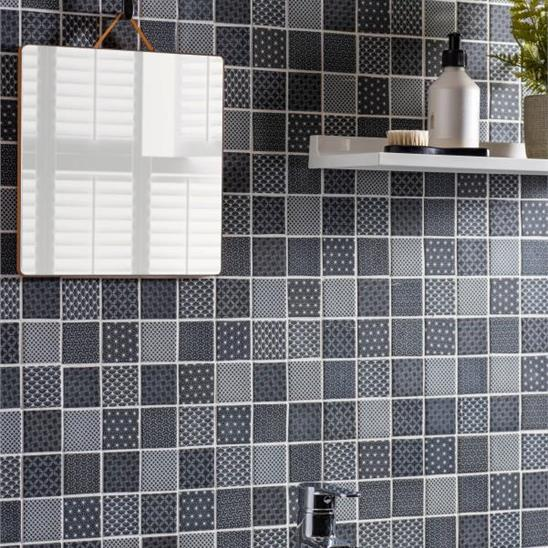 kinetic black recycled glass tile
