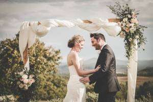 ceremony and reception in an old farm hamlet