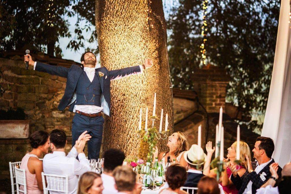 wedding reception in a tuscan winery