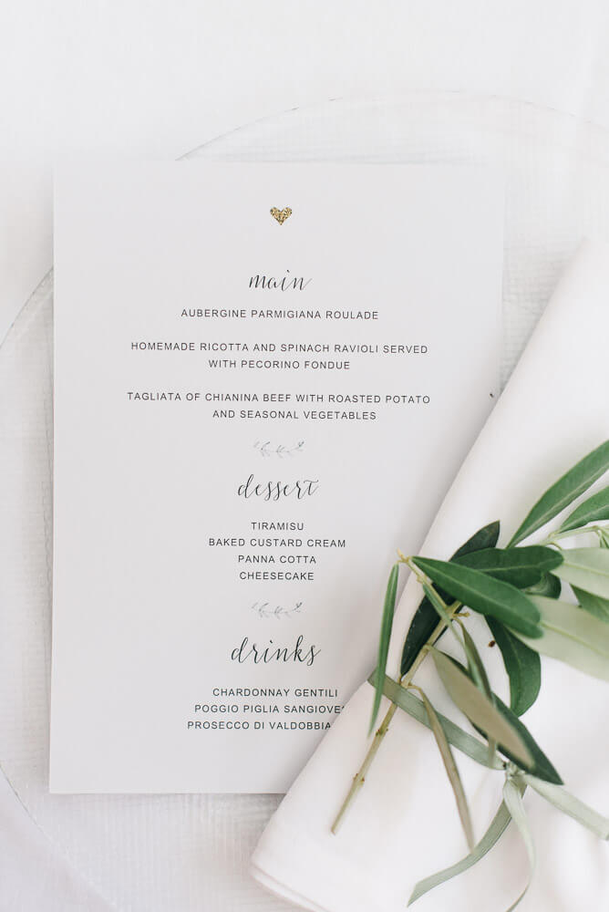menu of the wedding