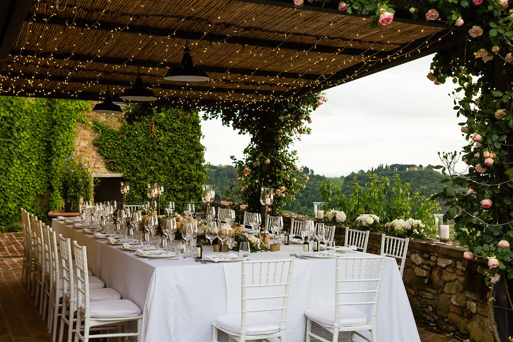 wedding reception underthe tuscan patio