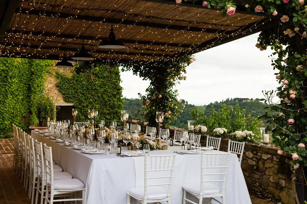 wedding reception underthe tuscan patio