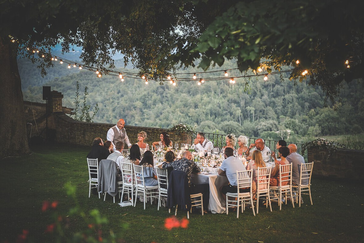 wedding dinner in the garden of the Villa