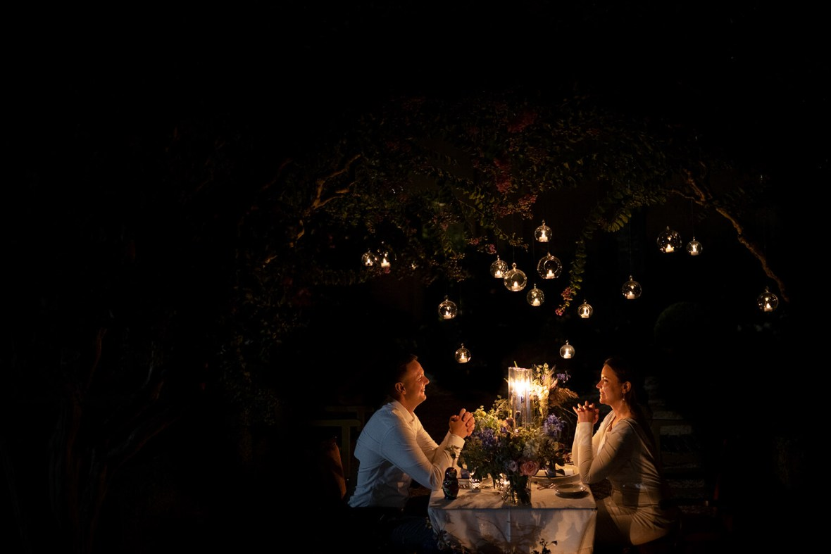 Romantic wedding dinner for two