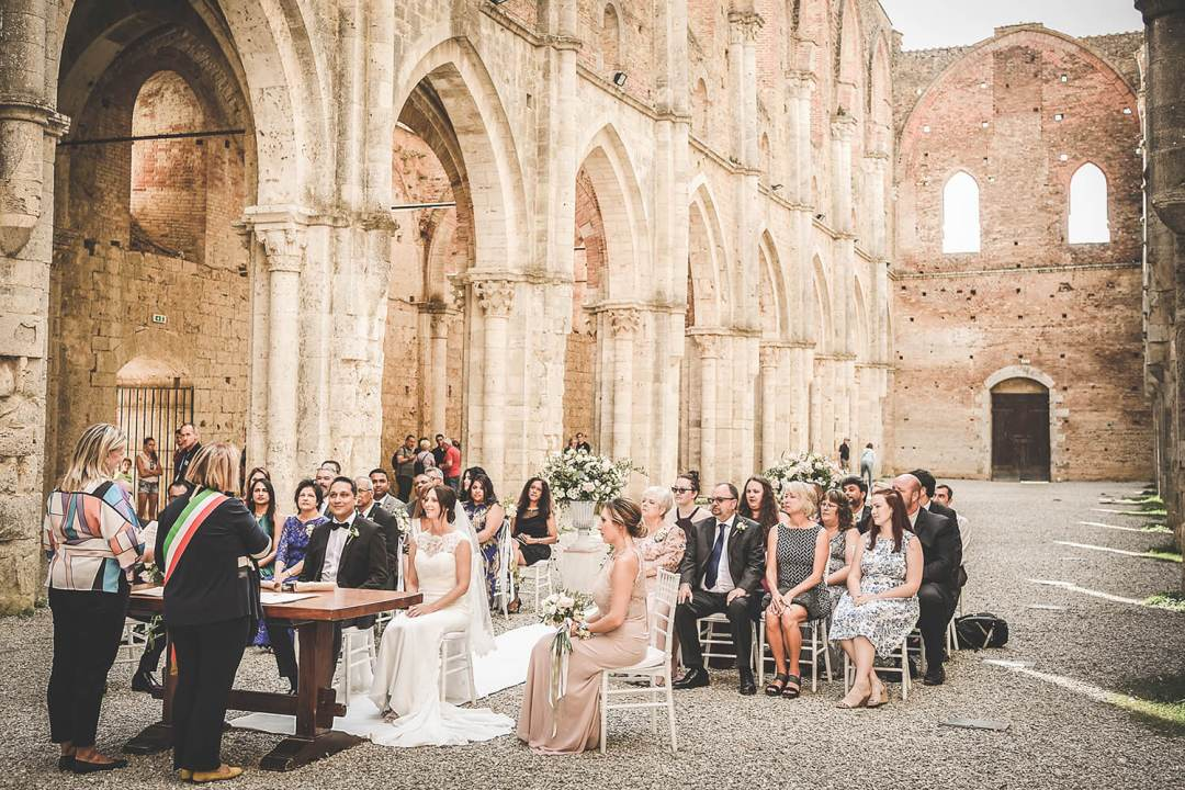 wedding ceremony in a old tuscan church