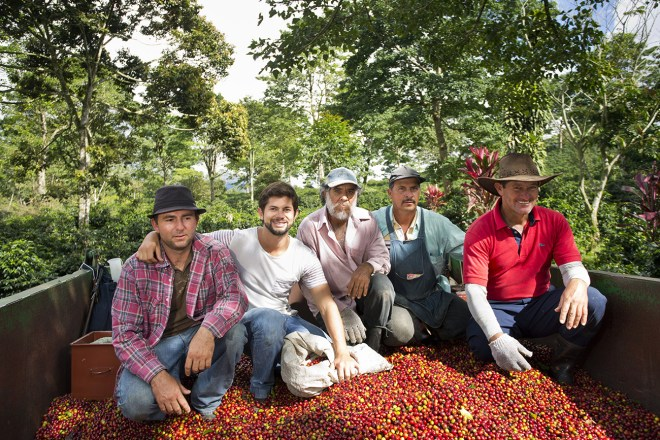 Diego (second from the left), Don Alfonso's son and cherry pickers