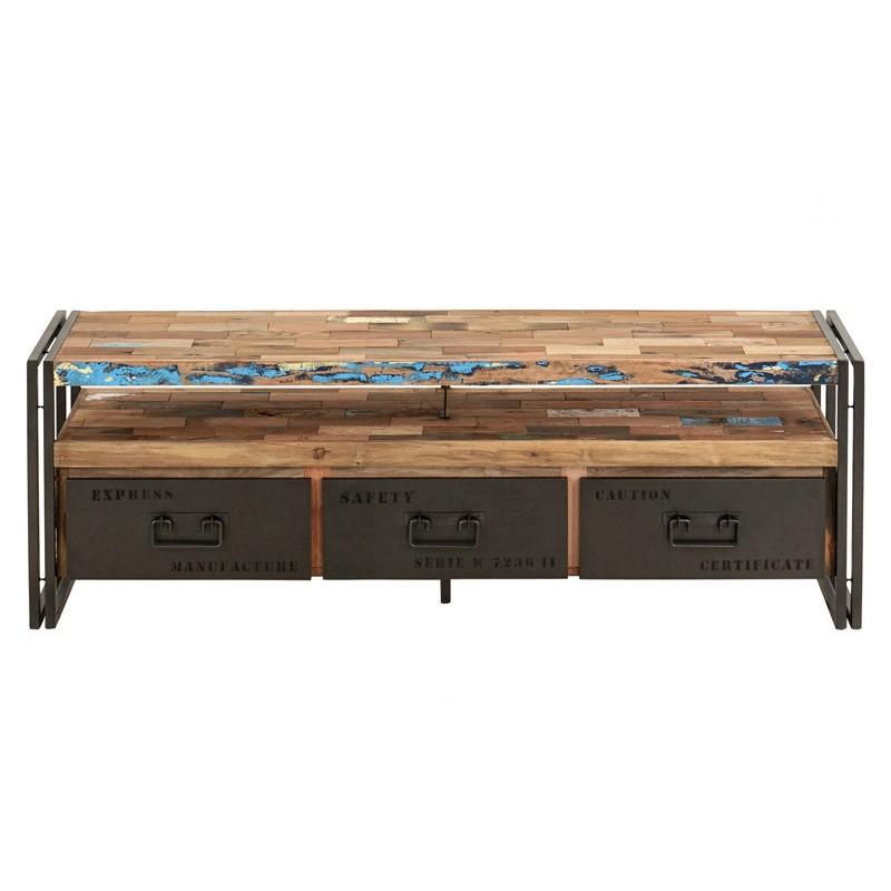 meuble tv industriel 3 tiroirs factory samudra 160 cm