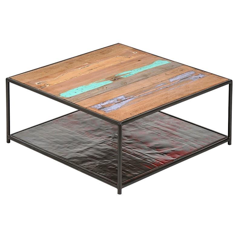 table basse industrielle carree drum 80 cm