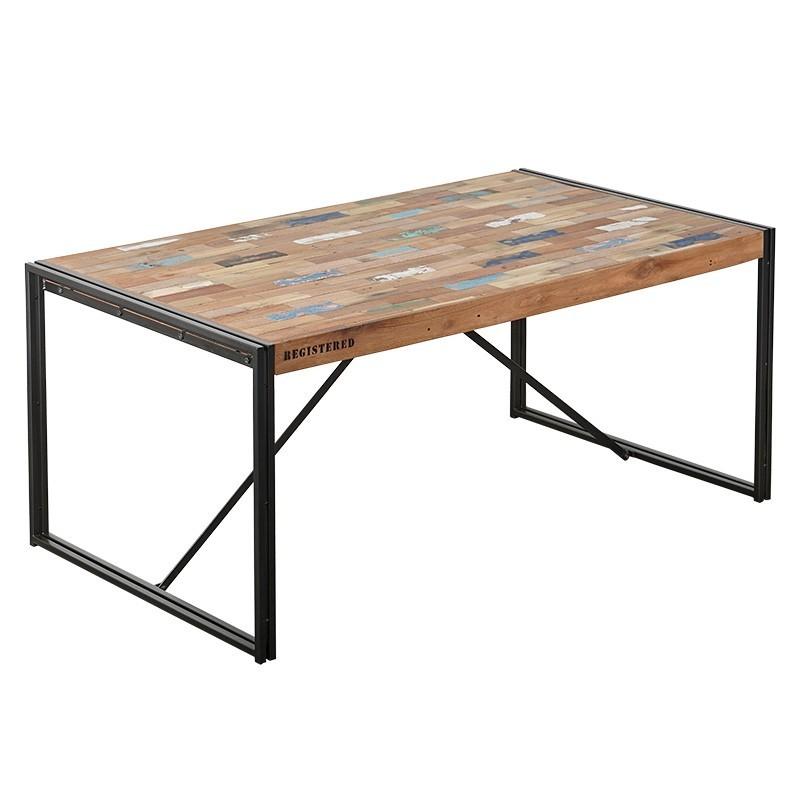 table repas industrielle factory 175x100 cm fer et bois de bateau