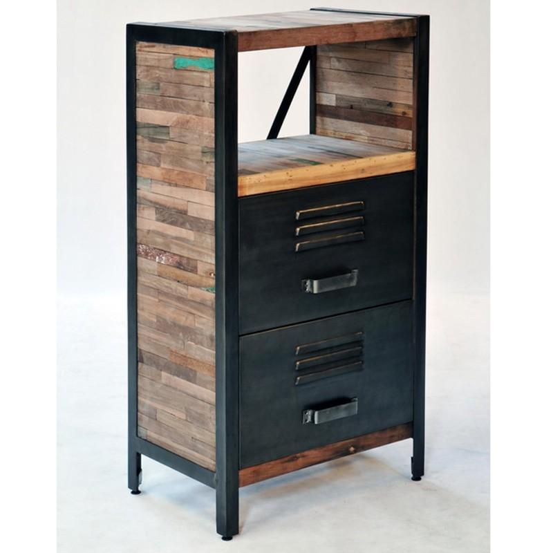 meuble colonne 2 tiroirs industriel industry