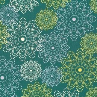 Patchworkstof med blomstermønster på turkisgrøn