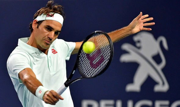 Roger Federer in action during the match against Denis Shapovalov