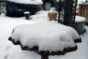 Birdbath covered in snow