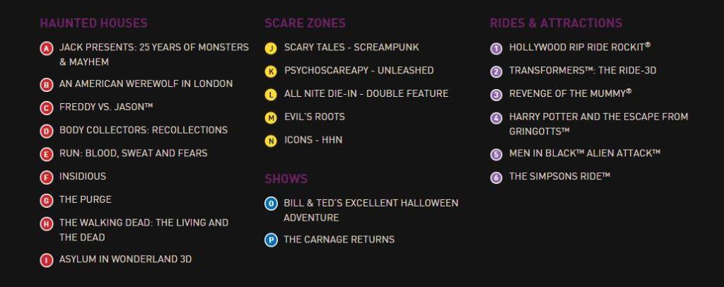 Halloween Horror Nights 25 Event Map Legend