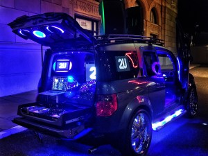 Completely custom Honda Element turned into a mobile DJ booth.