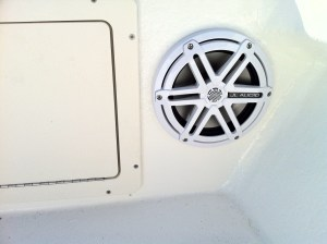 Four JL Audio marine 8 inch components powered by a clarion waterproof head unit installed in a 2014 Amaracat 27'.
