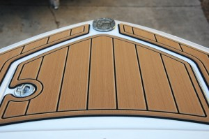 SeaDek Pad on Bow for Safe Stepping On and Off Boat
