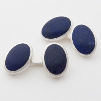 Lapis oval Sterling Sil;ver Chain Link cufflink
