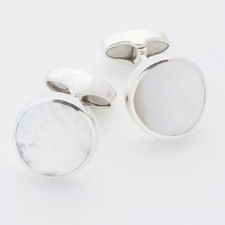 Mother of pearl round hallmarked sterling silver cufflinks