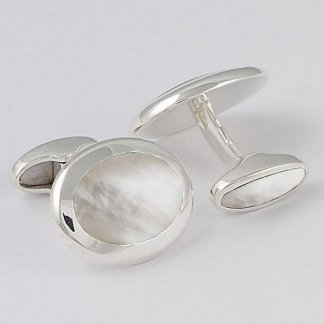 Orlap Studio hallmarked sterling silver mother of pearl oval mens cufflinks