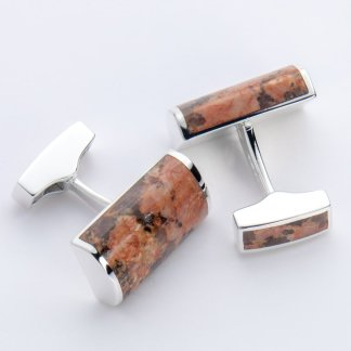 Peterhead granite rectangle hallmarked sterling silver cufflinks