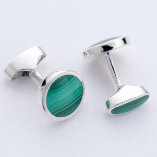 Round green stone hallmarked sterling silver cufflinks