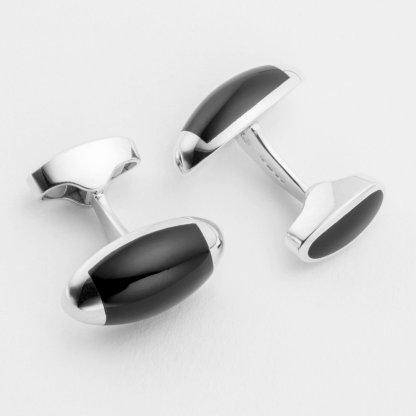 Torpedo onyx sterling silver cufflink