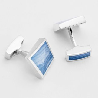 Blue lace square hallmarked sterling silver cufflinks