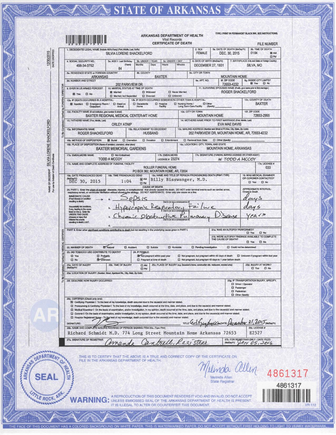 Historical documents orley and eva davis atnip silvia lorene atnip shackelford death certificate 1betcityfo Image collections